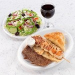 combination platter with double greek salad and red wine 150x150