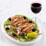 greek salad with grilled chicken with wine 150x150