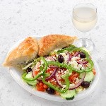 spanakopita with greek salad and white wine 150x150