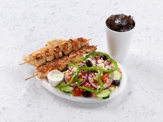 Chicken Souvlaki Plate with Drink