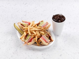 Club Sandwich with French Fries and Drink