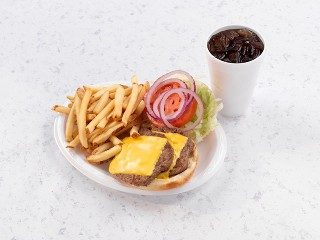 Double Cheeseburger with French Fries and Drink