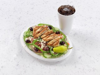 Greek Salad with Grilled Chicken with Drink