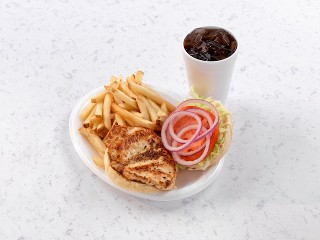Grilled Chicken Sandwich with French Fries and Drink