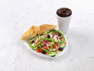 Gyro Plate with Greek Salad and Drink